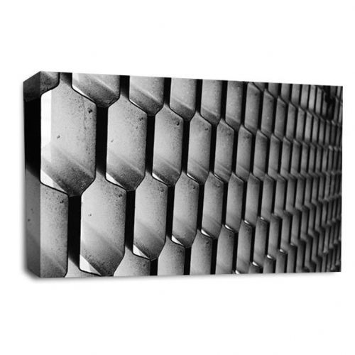 Modern Abstract Wall art Picture Black White Grey Hexagon Print